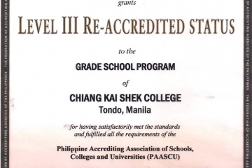 Level III PAASCU Accreditation Status Granted to Chiang Kai Shek College Grade School and High School Programs