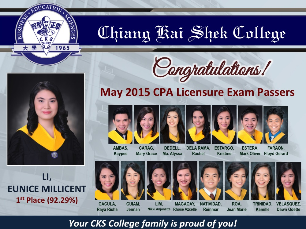Congratulations to May 2015 CPA Licensure Exam Passers!